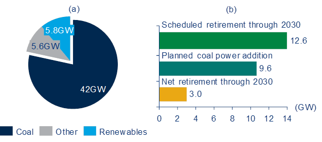 South Africa's desired power generation capacity and coal build out