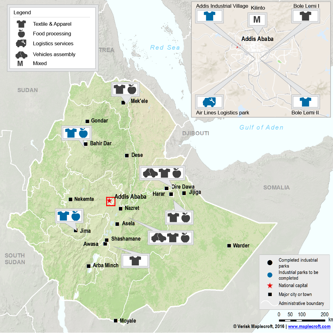 Map - Ethiopia Industrial parks_Ethiopia cotton