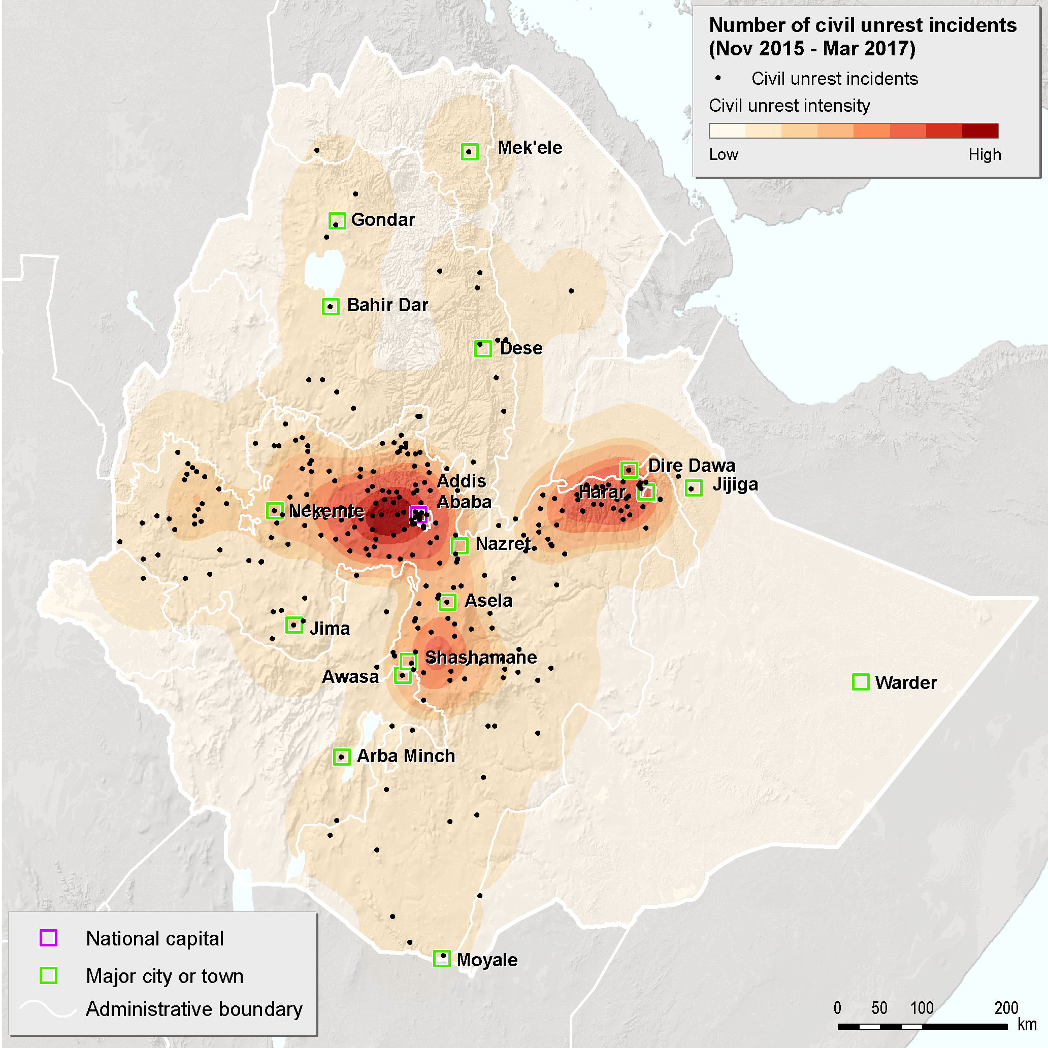 Map-Ethiopian civil unrest (2015-2017)_ethiopia cotton