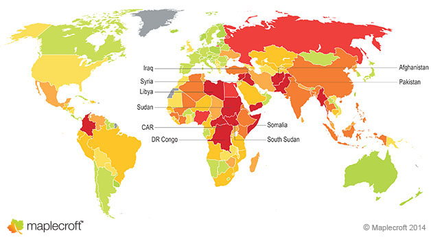 Maplecroft's Conflict and Political Violence Index (CPVI)_map