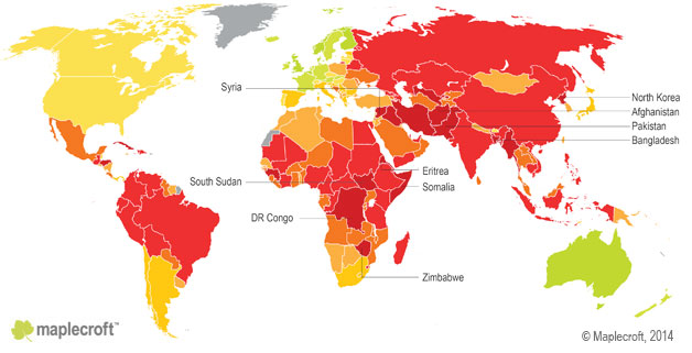 Working Conditions Index 2014_map